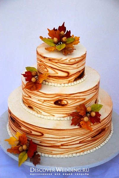 торт свадебный осенний фото