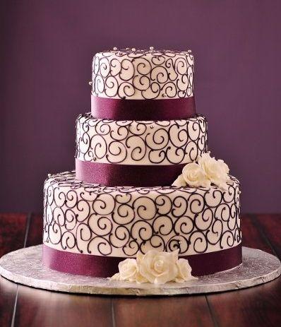 торты-фото, свадебные, фиолетовая