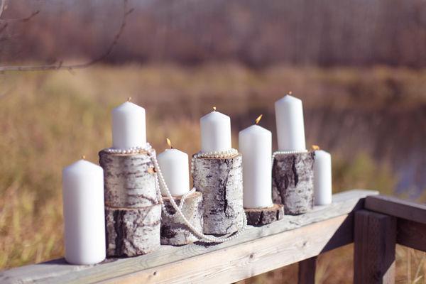 свечи подсвечники из березовых поленьев свадьба в эко стиле