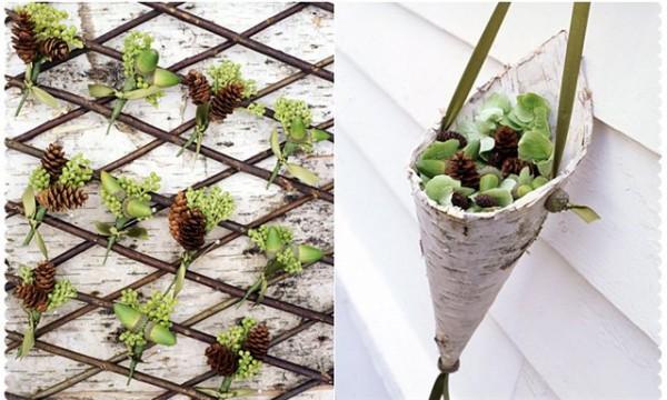 украшение для эко свадьбы березовая кора шишки