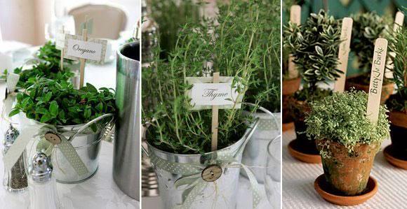 украшение для зеленой свадьбы эко стиль растения в горшочках карточки для рассадки