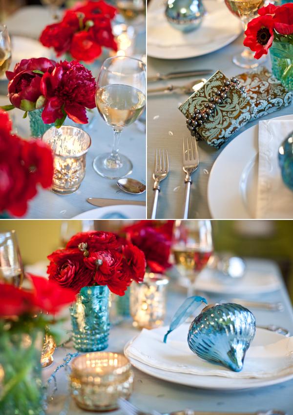 aqua ans red christmas wedding table