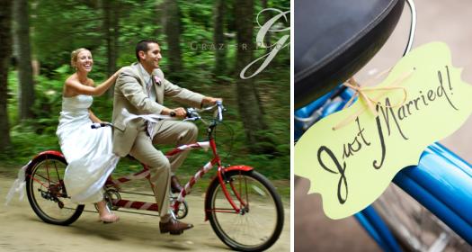 свадьба на велосипеде тандем just married