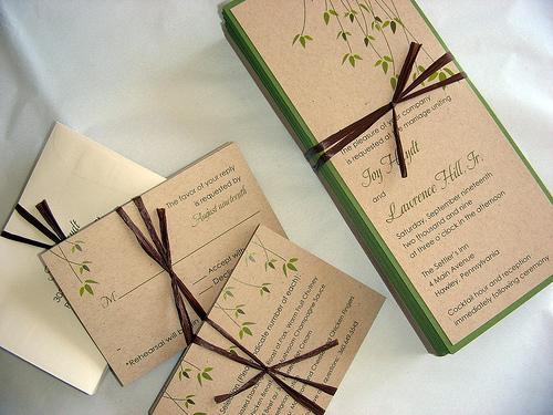 эко свадьба приглашение зеленая