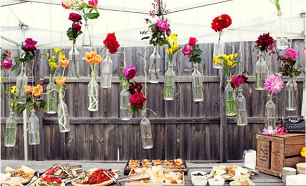 вазы из бутылок необычная свадьба в эко стиле