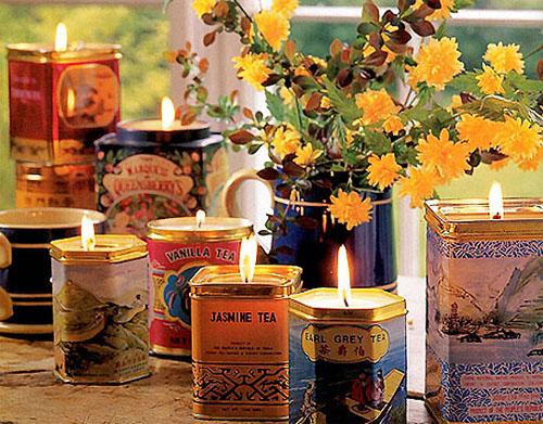 необычные подсвечники из банок от чая эко свадьба