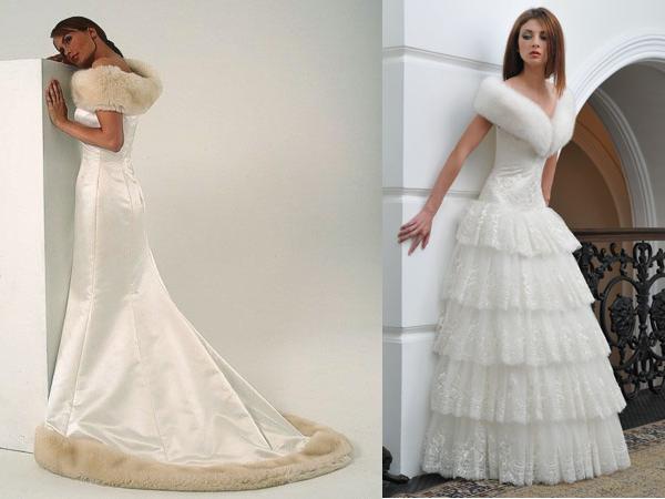 зимнее свадебное платье с мехом