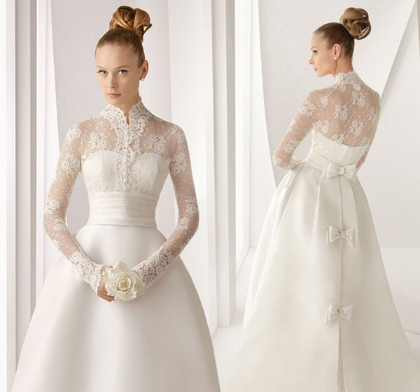 зимнее закрытое свадебное платье