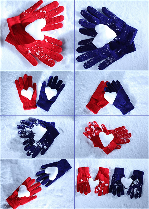 перчатки и сердце сердечко из снега