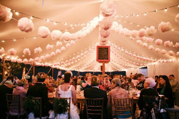 гирлянда из бумажных помпонов украшение для свадебного банкетного зала