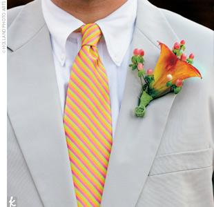 жених оранжевый розовый галстук