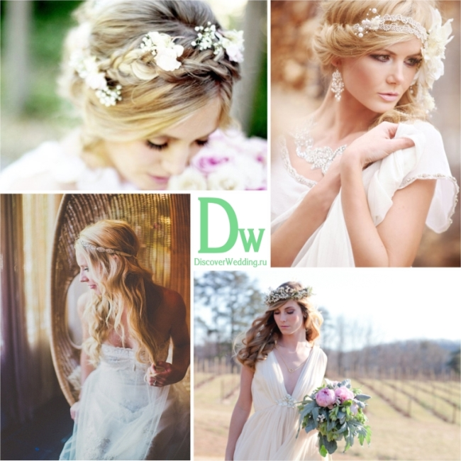 Венок из живых цветов на голову для невесты
