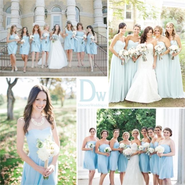 Платье на свадьбу в голубом цвете