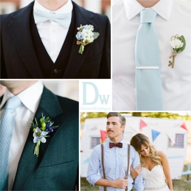 Букет невесты в бело голубой гамме