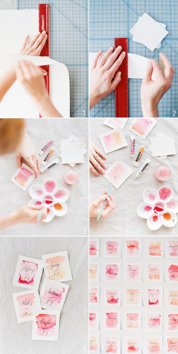 diy-wedding-watercolor-escort-cards