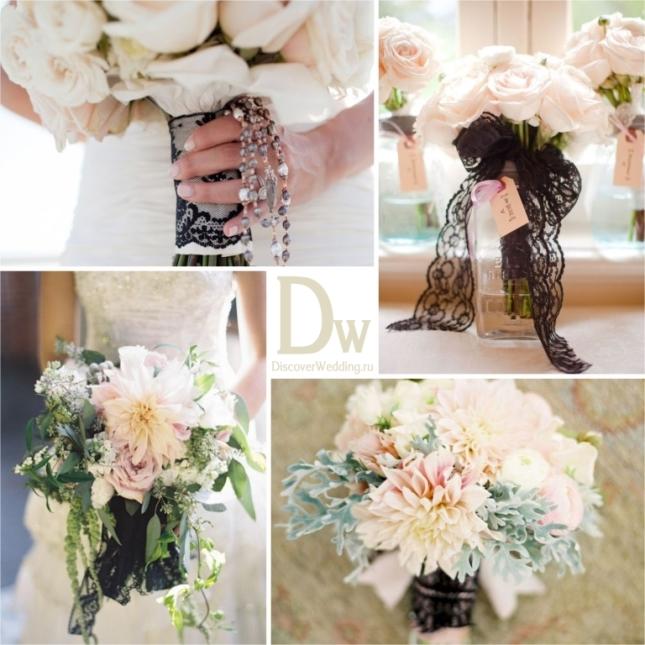 Кружевное платье и букет невесты