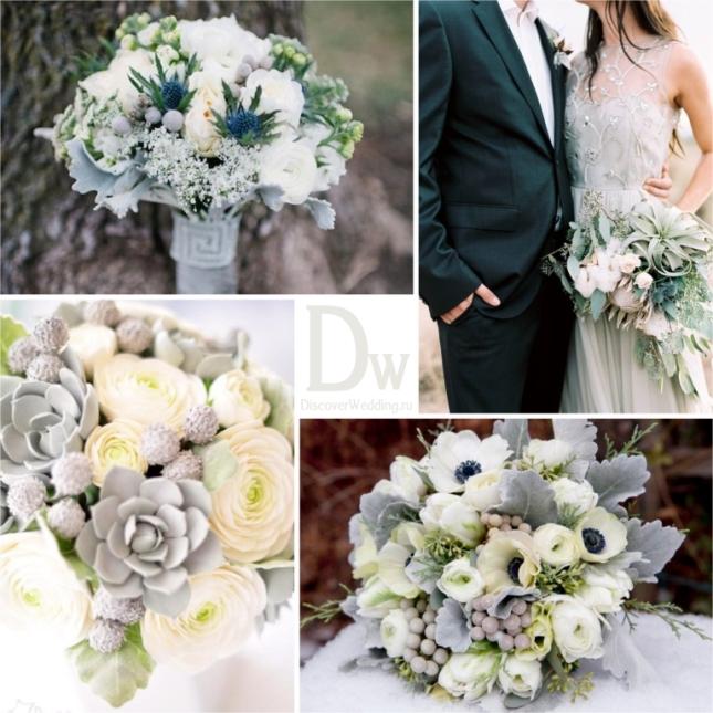 Белое серебристый букет невесты — img 14
