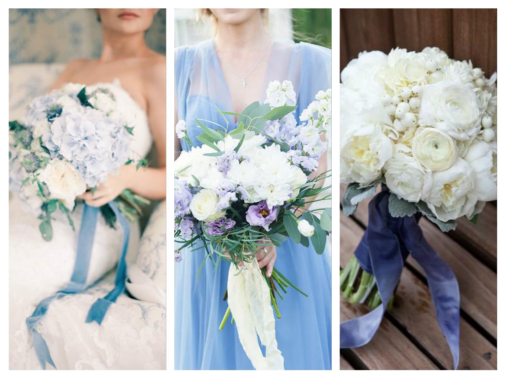 Букет невесте к голубому платью